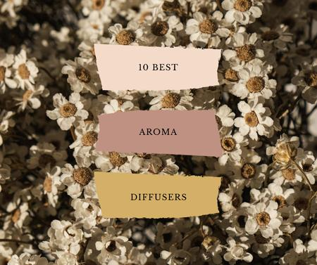 Aroma Diffusers ad on Blooming Flowers Facebookデザインテンプレート