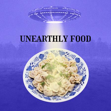 Template di design Funny Picture with Ufo shining over Plate of Dumplings Instagram