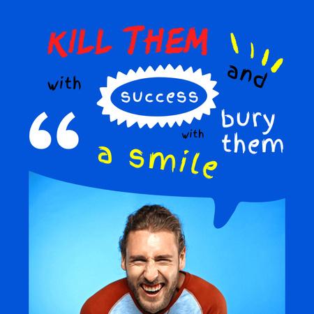 Inspirational Citation with Smiling Man Instagram – шаблон для дизайну