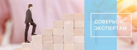 Businessman walking on wooden blocks Facebook cover – шаблон для дизайна