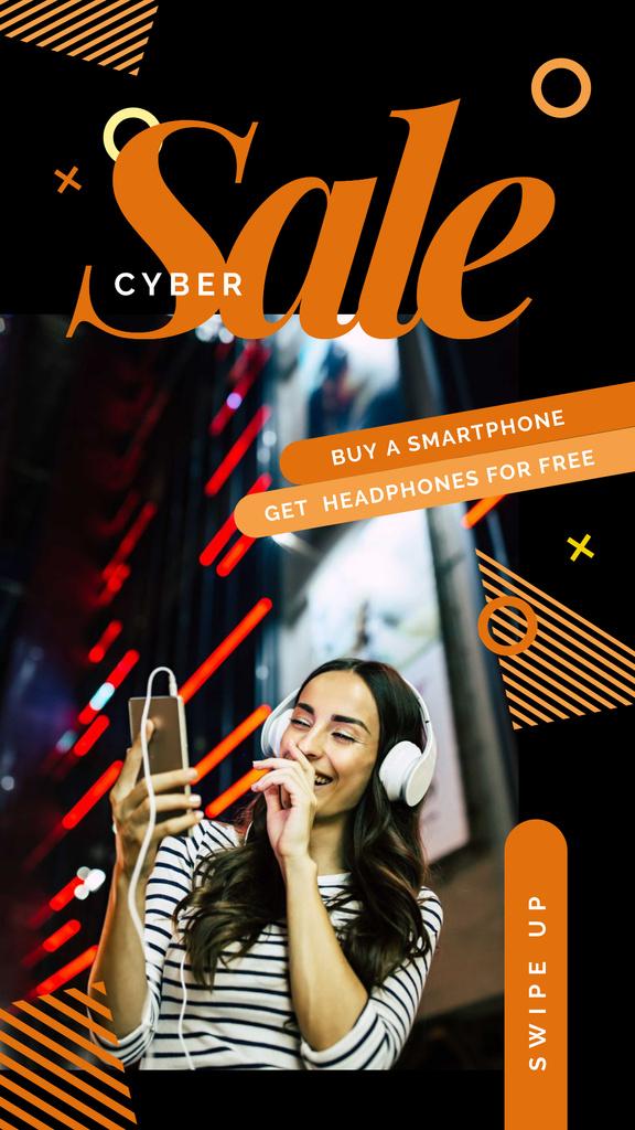 Cyber Monday Sale Woman listening music on smartphone — Створити дизайн