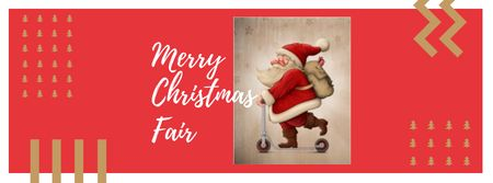 Ontwerpsjabloon van Facebook cover van Christmas Fair with Cute Santa