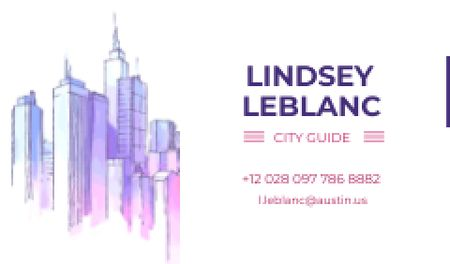 City Guide Ad with Skyscrapers in Blue Business card Modelo de Design