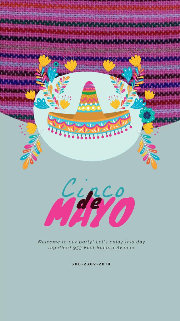 Cinco de Mayo Mexican Sombrero in Flowers — Crear un diseño