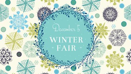 Plantilla de diseño de Winter Fair Announcement with Snowflakes FB event cover