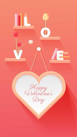 Valentine's Day Greeting with Big Heart Instagram Story Modelo de Design
