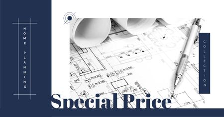 Building company Ad with House blueprints Facebook AD – шаблон для дизайна