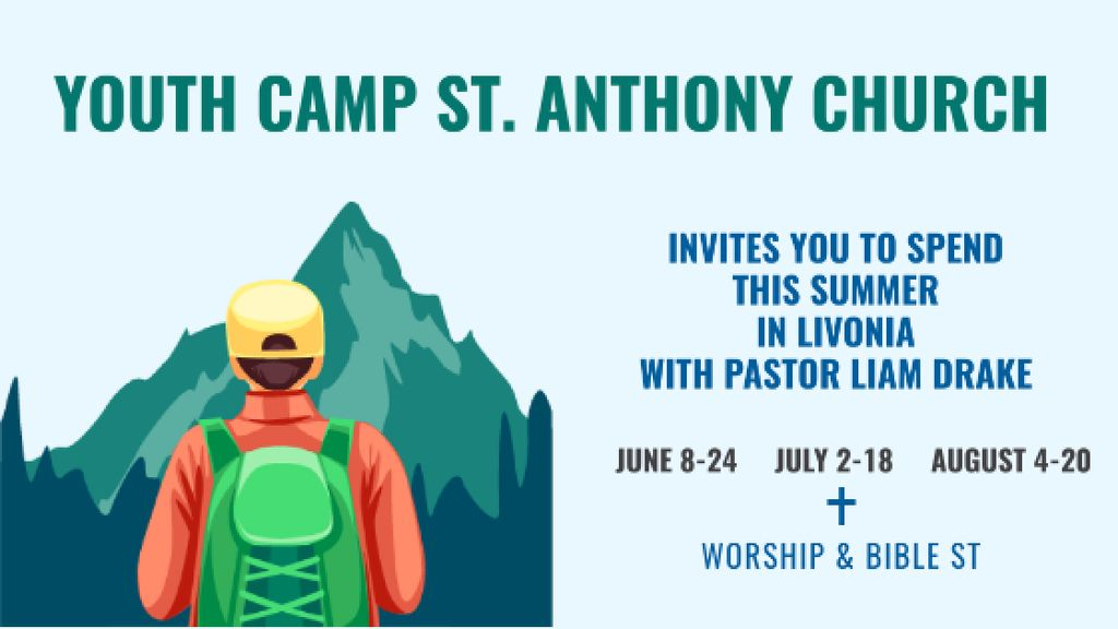 Youth Religion Camp invitation with boy in Mountains Title – шаблон для дизайну