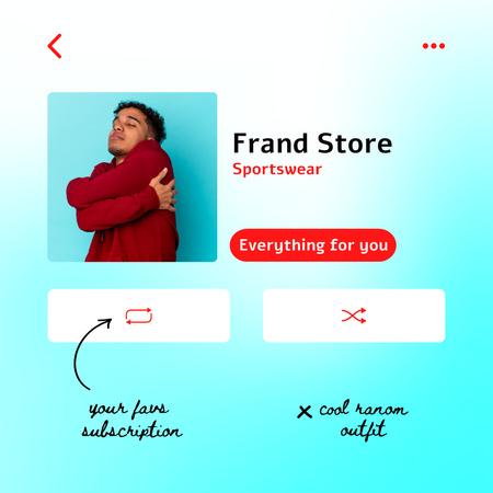 Sportswear Store promotion in app interface Instagram tervezősablon