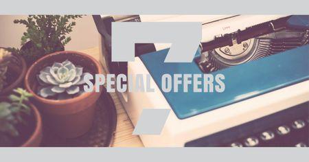 Vintage Typewriter on Table Facebook AD – шаблон для дизайна