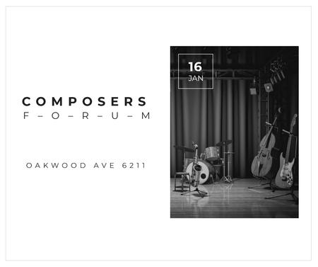 Plantilla de diseño de Composers Forum Instruments on Stage Facebook