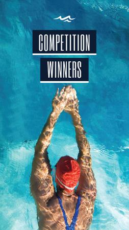 Plantilla de diseño de Competition Winners Ad with Swimmer Instagram Story