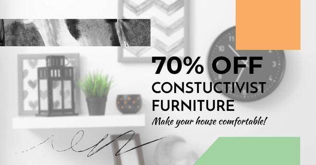 Plantilla de diseño de Constructivist furniture Sale Facebook AD