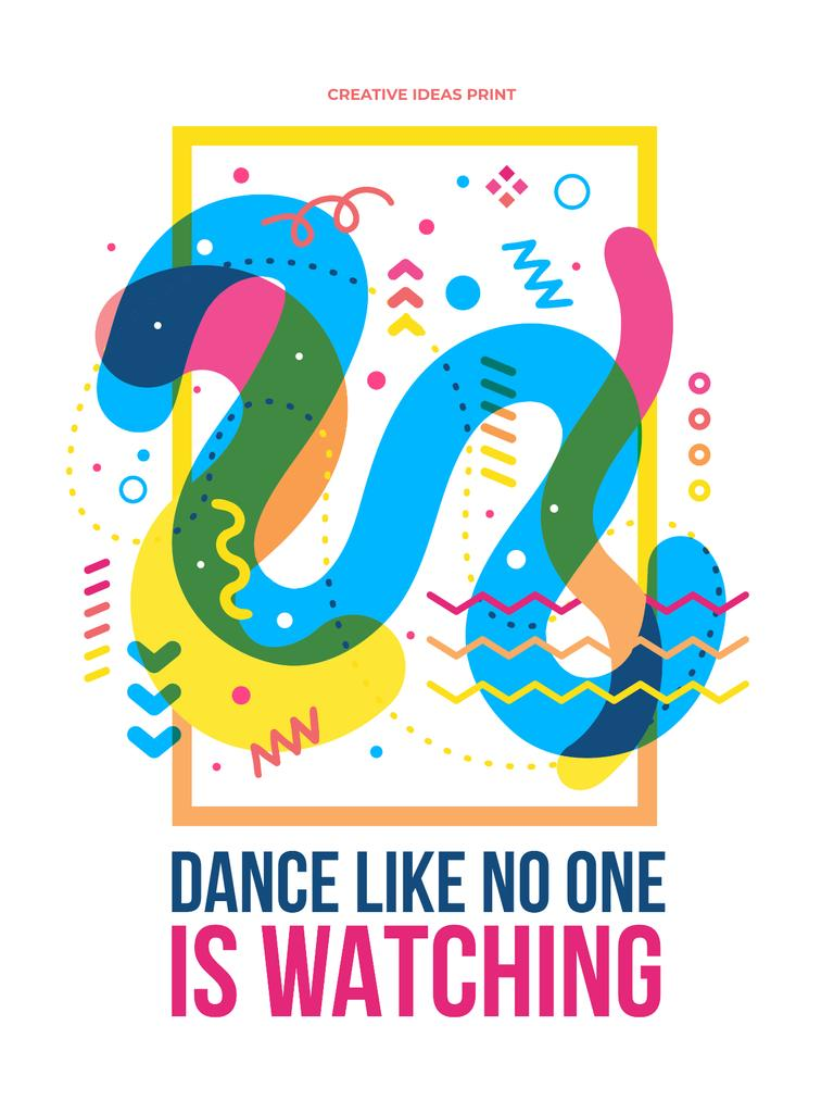 Dance party creative poster with quote Poster US Design Template