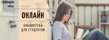 Education Tips Girl Reading in Library Facebook cover – шаблон для дизайна