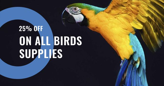 Bird Supplies Offer with Bright Parrot Facebook ADデザインテンプレート