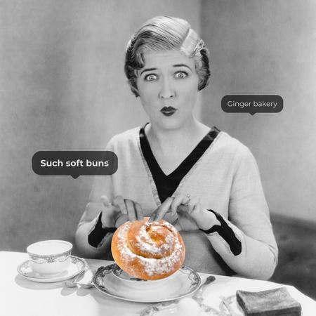 Bakery Promotion with Funny Woman and Bun on Plate Instagram – шаблон для дизайну