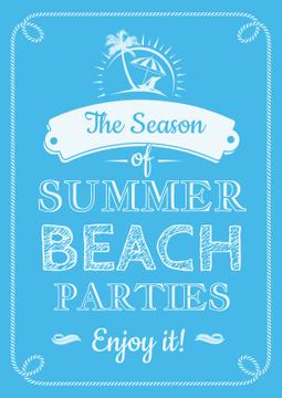 Summer beach parties season on blue