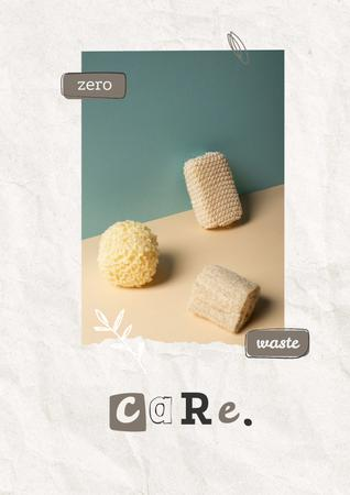 Eco Concept with Wooden Brushes in Basket Poster Design Template