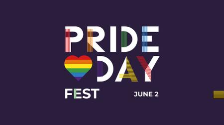 Ontwerpsjabloon van FB event cover van Pride Day Fest Announcement with Rainbow Heart