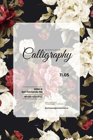 Сalligraphy workshop with flowers Pinterest – шаблон для дизайну