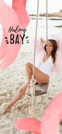 Ontwerpsjabloon van Snapchat Moment Filter van Happy Woman on Beach Swing