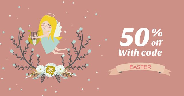 Szablon projektu Easter Offer with Cute Girl Angel Facebook AD