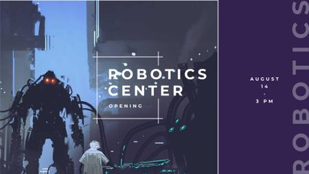 Ontwerpsjabloon van FB event cover van Robotics Center Ad with Cyber World illustration