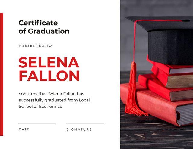 School of Economics Graduation with books and hat Certificate – шаблон для дизайна