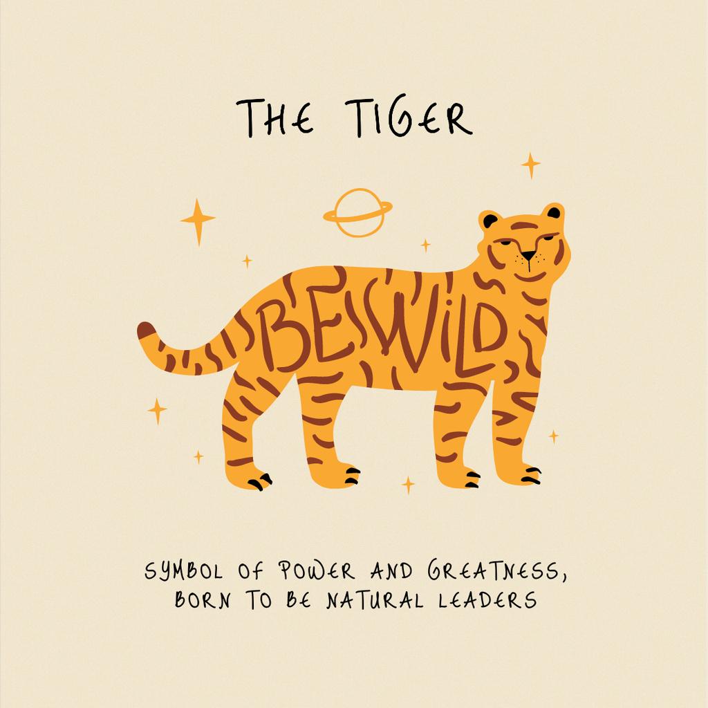 Astrological Inspiration with Tiger illustration Instagram Design Template