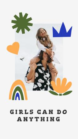 Girl Power Inspiration with Woman holding Happy Child Instagram Story Modelo de Design