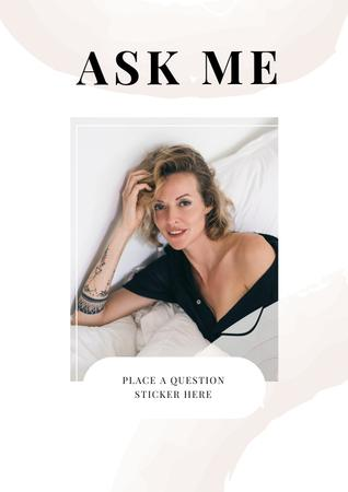 Question Form with Attractive Woman in white Poster – шаблон для дизайну