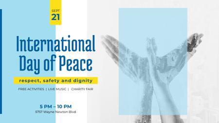 Template di design International Day of Peace Bird Symbol on Blue FB event cover