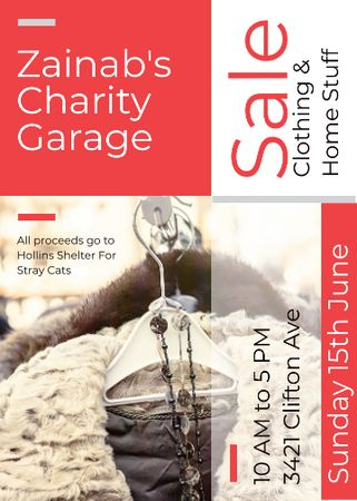 Charity Sale Announcement Clothes on Hangers Flayer Tasarım Şablonu