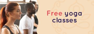 Free Classes Offer with People practicing Yoga