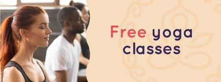 Plantilla de diseño de Free Classes Offer with People practicing Yoga Facebook cover