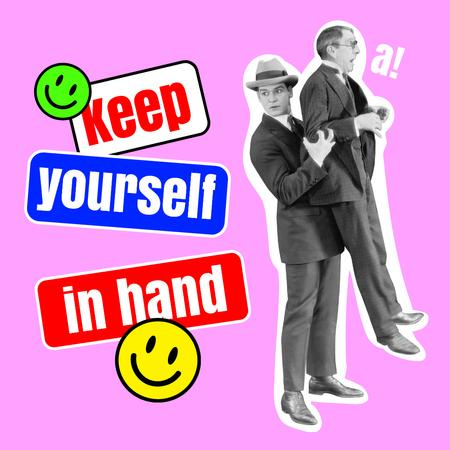 Designvorlage Inspirational Phrase with Funny Men and Emoji für Instagram