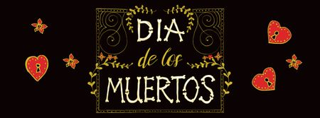 Dia de los muertos Festival Announcement Facebook coverデザインテンプレート