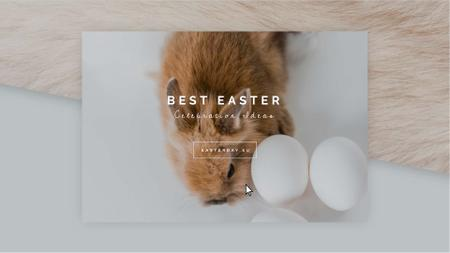 Designvorlage Cute Easter Bunny with Eggs für Full HD video