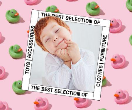 Cute Little Child and Toy Ducks Large Rectangle – шаблон для дизайну
