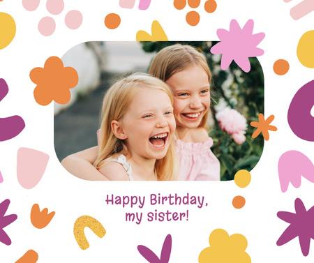 Plantilla de diseño de Birthday Greeting with Cute Little Sisters Facebook