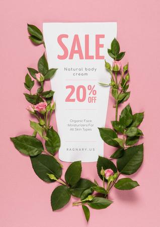 Natural Cosmetics Sale on Roses frame Poster Modelo de Design
