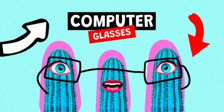 Ontwerpsjabloon van Twitter van Funny illustration of computer glasses on cacti