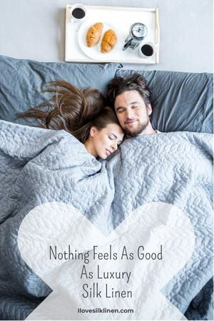 Plantilla de diseño de Bed Linen ad with Couple sleeping in bed Tumblr