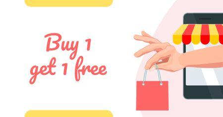 Plantilla de diseño de Purchase Offer with Hand holding Shopping Bag Facebook AD
