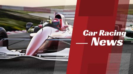 Racing News with red sports car FB event cover – шаблон для дизайну
