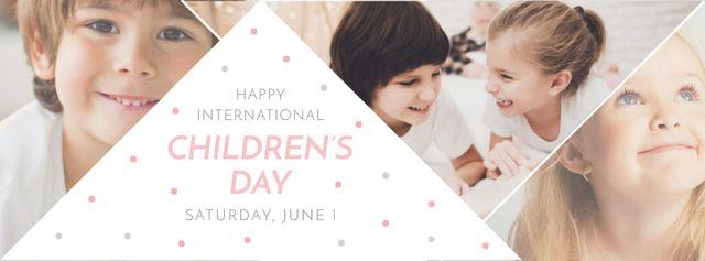 Plantilla de diseño de Happy little kids on Children's Day Facebook cover