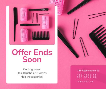 Plantilla de diseño de Hairdressing Tools Sale in Pink Facebook