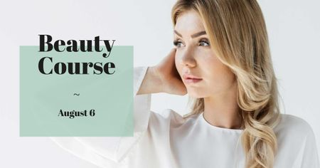 Beauty Course Ad with Attractive Woman in White Facebook ADデザインテンプレート
