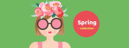 Spring Collection Announcement with Woman in Sunglasses Facebook cover – шаблон для дизайна